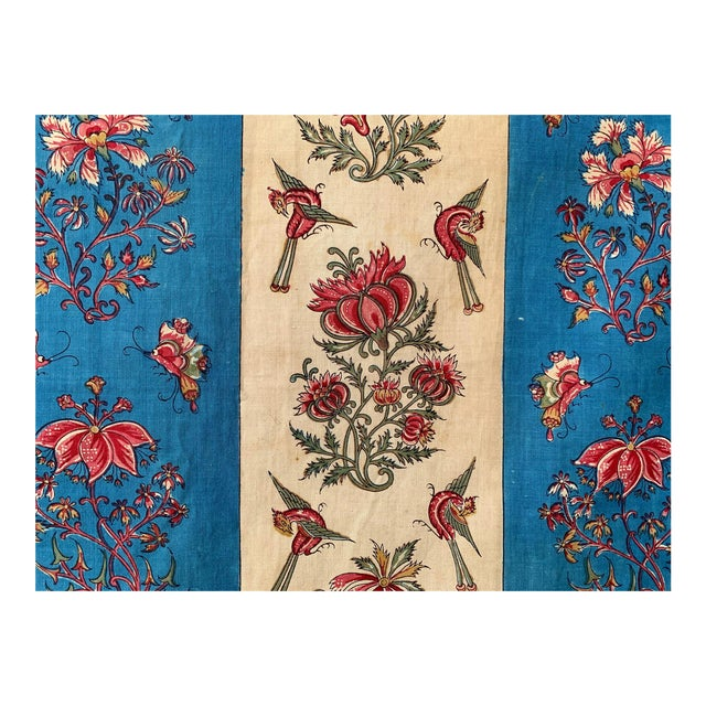 """Antique French Fabric Floral And Stripe Indienne Fabric - 25.5x65.75"""" For Sale"""