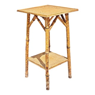 Antique French Burnt-Bamboo Side Table For Sale