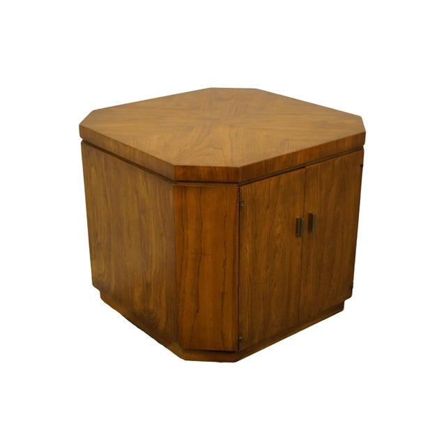"Drexel Furniture Consensus Collection contemporary modern 26"" bookmatched walnut accent cabinet end table 990-370. We..."