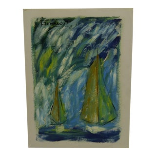 """Sail Boats"" French Painting on Paper"