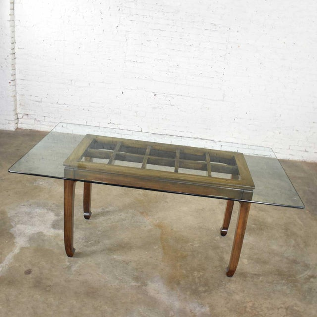 Vintage Chinoiserie Chow Leg Glass Top Dining Table Walnut Color Finish For Sale - Image 6 of 13