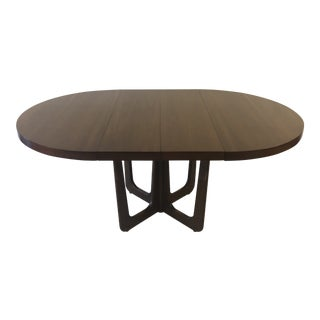 1960s Danish Modern Walnut Base Dining Table With 2 Leaves For Sale