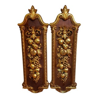 Huge 42 Inches Tall. 20th Century Syroco Gold Fruit Topiary Wall Plaques - a Pair For Sale