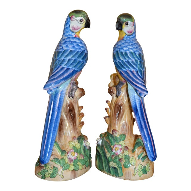 Vintage Chinese Blue Majolica Parrot Figurines - a Pair For Sale