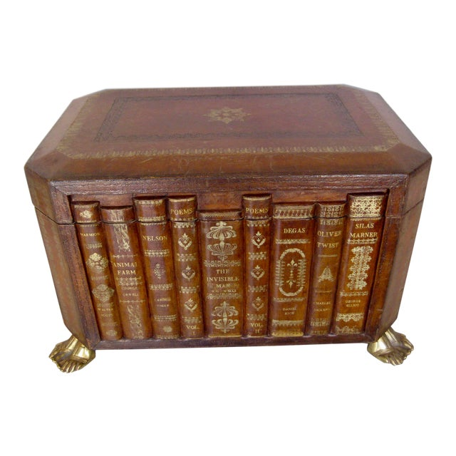 Vintage English Book Leather Box For Sale