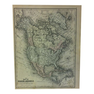 "Antique Mitchell's Modern Atlas Map - ""Map of North America"" - 1880 For Sale"