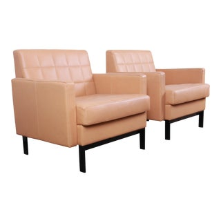 Florence Knoll Style Brown Leather Club Chairs by Coalesse - a Pair For Sale