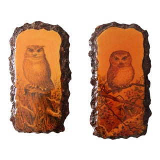 Mid-Century 1970s Owl Painting on Lacquered Wood - A Pair For Sale