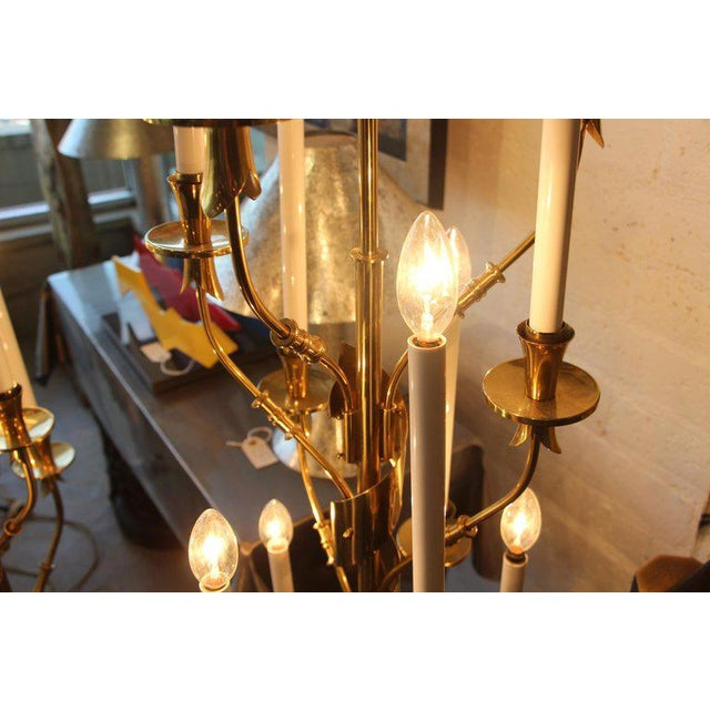 Gold Stilnovo Brass With Marble Bases Candelabra Floor Lamps - a Pair For Sale - Image 8 of 12