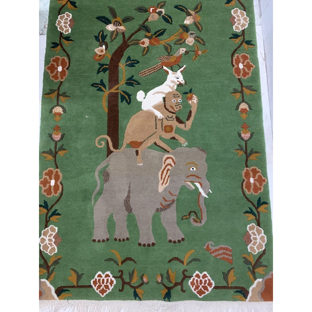 Elephant & Monkey Hand Knotted Wool Rug For Sale In Atlanta - Image 6 of 7