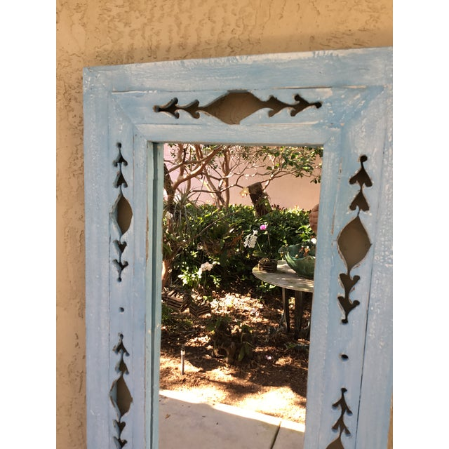 1960s Vintage Hand Carved Wood Mirror For Sale - Image 5 of 11