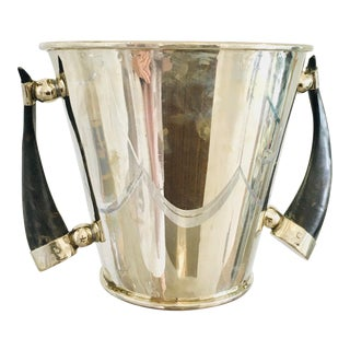 Silver Plate Wine Cooler Ice Bucket With Horn Handles For Sale