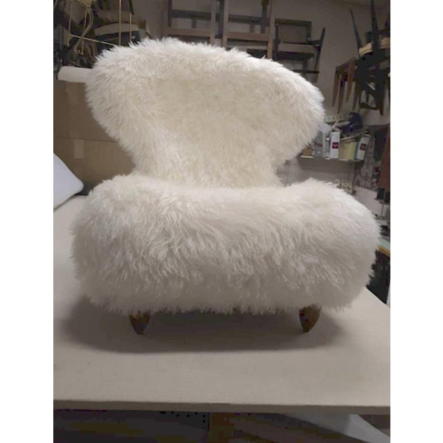 Annie Hieronimus for Cinna Pair of Chair Covered in Mohair Faux Fur For Sale - Image 4 of 8