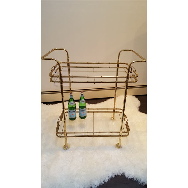 Brass Plated Mid Century Bamboo Bar Cart - Image 7 of 11