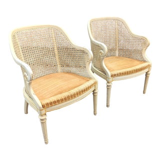 Shabby Chic Caned Barrel Accent Chairs - a Pair For Sale