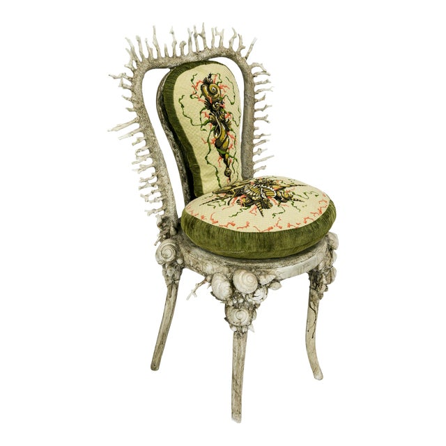White Fantasy Shell and Coral Chair With Embroidered Pillow For Sale