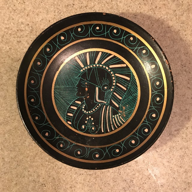 Greek Soldier Decorative Hand Painted Clay Bowl or Tray Great for change / keys. Shows some scratches / wear around paint.