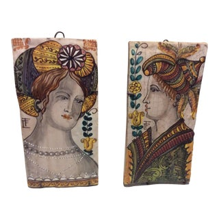 Vintage Vietri Italy Faience Tin Glaze Terra Cotta Tiles - Set of 2 For Sale
