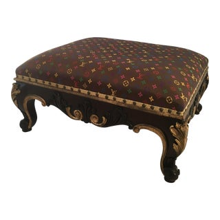 Louis Vuitton Style Gilt Ottoman For Sale