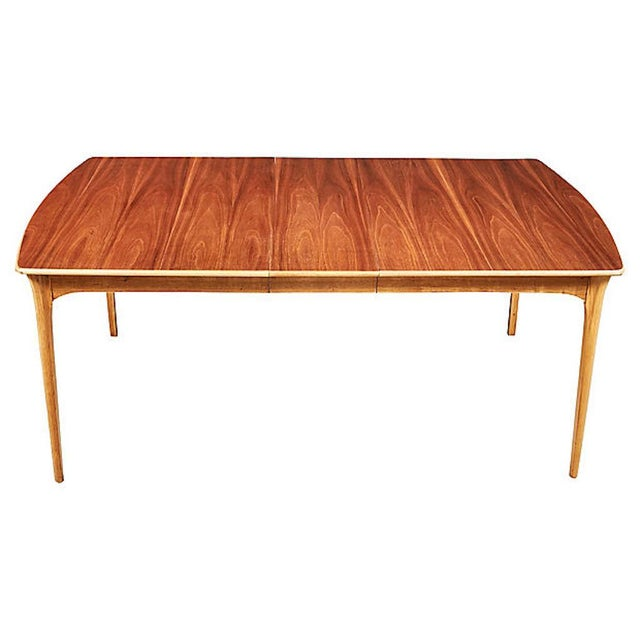 """1960s walnut top and ash wood base dining room table. The table has one extra board that is 12""""L. Table fully open is..."""