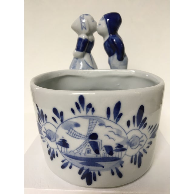 Blue & White Delft Bowl/Planter With Dutch Boy & Girl Kissing For Sale - Image 11 of 11