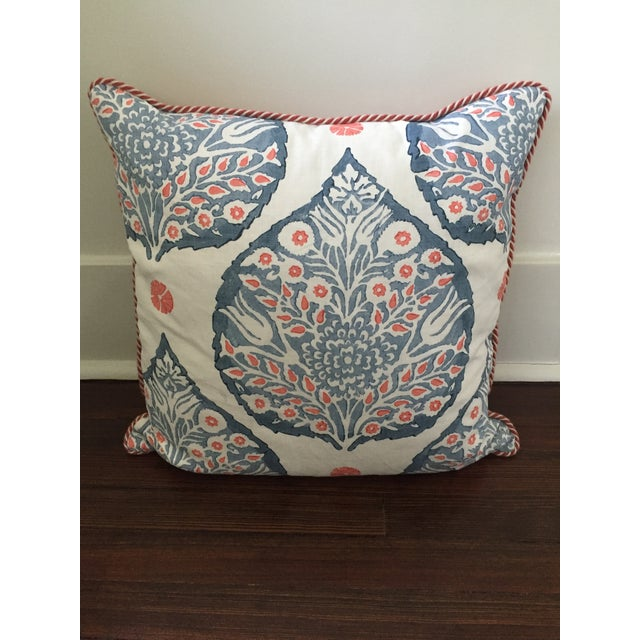 2010s Custom Galbraith & Paul Lotus Coral and Blue Pillow Cover For Sale - Image 5 of 5