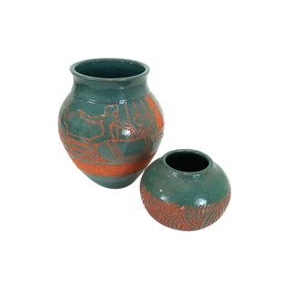 Vintage Southwest Galena Il Studio Pottery Vases Turquoise Glaze Figural Dancers Native American Design Boho Chic For Sale