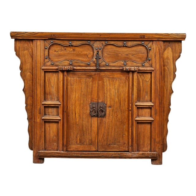 19th C. Chinese Elm Altar Cabinet For Sale