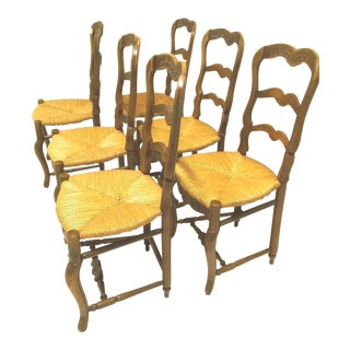 Early 20th Century French Country Rush Seat Chairs Turned Footrest