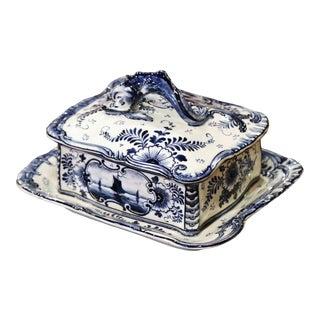 Early 20th Century Franz Anton Mehlem Royal Bonn Delft Sardine or Butter Dish For Sale