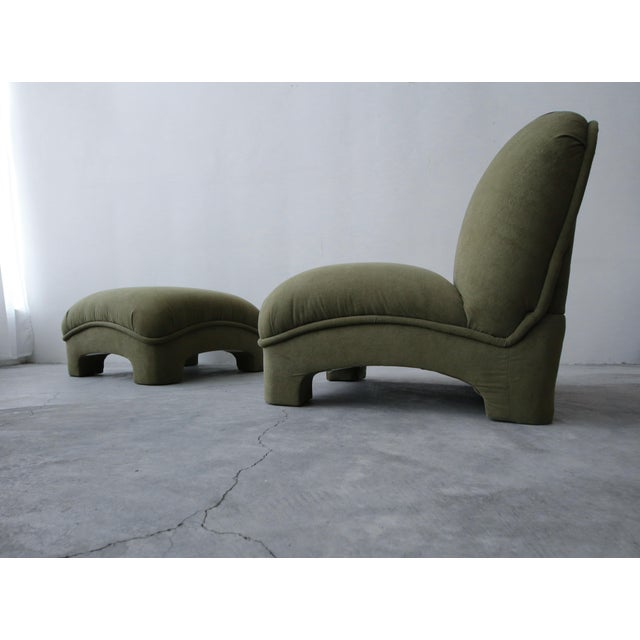 Incredible and large, Postmodern slipper chair with ottoman. This set has lines and curves truly worth coveting. Kept as...