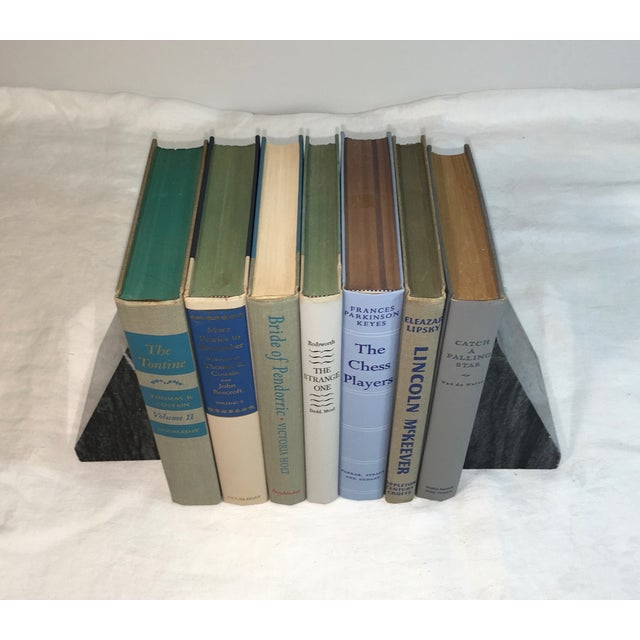 Mid-Century Neutral Blue Books - Set of 7 - Image 3 of 3