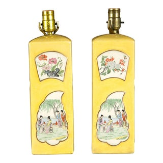Chinese Yellow Porcelain Table Lamps - a Pair For Sale