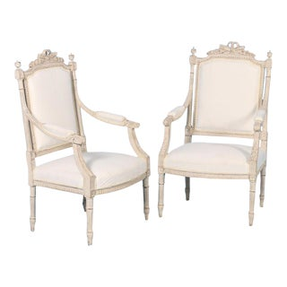 Mid 19th Century Antique White Gustavian Armchairs- A Pair For Sale