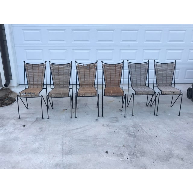 Set of 6 Mid-Century Ficks Reed Bamboo and Metal Chairs For Sale - Image 12 of 13