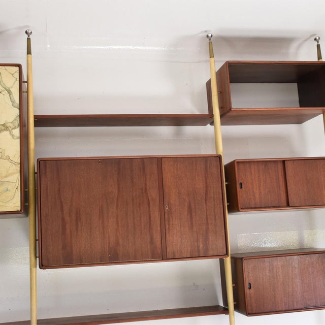Asian Monumental Mexican Modernist Wall Unit in Solid Mahogany and Goatskin For Sale - Image 3 of 12