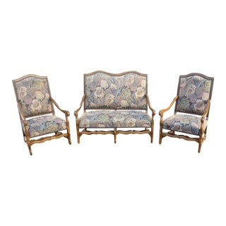 Solid Walnut Louis XIII Style Os De Mouton Armchairs & Settees - Set of 3