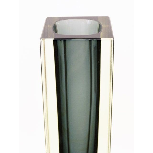 Italian Mandruzzato Murano Mid-Century Modern Gray Glass Vase MCM - Image 7 of 11