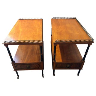 Pair of Beacon Hill Mahogany and Ebony Galleried Stands With Side Drawers For Sale
