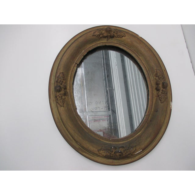 Mid 20th Century Antique Oval Mirror With Distressed Gold Finish For Sale - Image 5 of 6