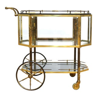 Italian Mid Century Modern Brass and Glass Dessert or Pastry Cart For Sale