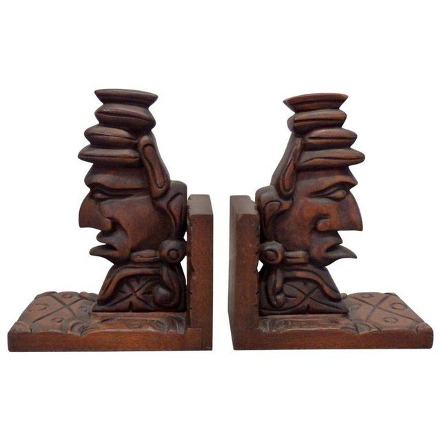 Wood Carved Tiki Bookends - a Pair For Sale - Image 7 of 7