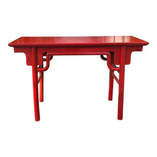 1990s Chinese Red Altar Table For Sale