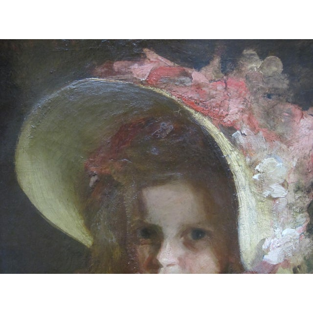 """Early 20th Century Louis Betts Framed Young Girl """"Apple Blossoms"""" Portrait Oil Painting For Sale - Image 5 of 13"""