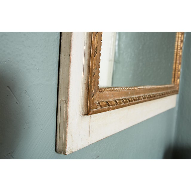 French Louis XVI Trumeau Mirror in Gray and Gilt For Sale - Image 4 of 8