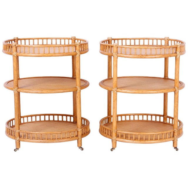 Midcentury British Colonial Style Stands or Carts - A Pair For Sale - Image 10 of 10