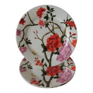 Set of (3) Floral Bone China Dessert Plates For Sale