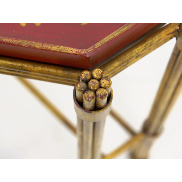 Metal Vintage Gilt Iron Cocktail Table With Red-Painted Wooden Tray, 20th Century For Sale - Image 7 of 13