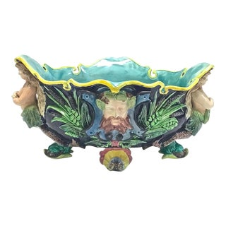 Antique French Majolica Poseidon & Mermaid Cachepot