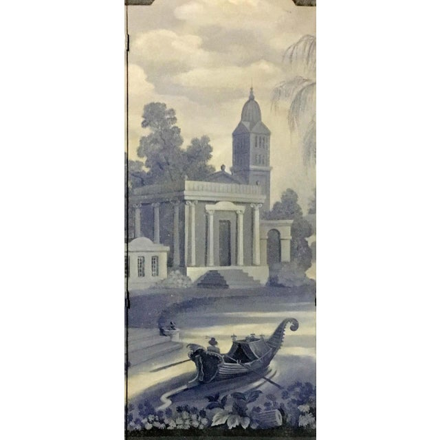 English Traditional Vintage European 3-Panel Top Shaped Blue & White Screen For Sale - Image 3 of 6